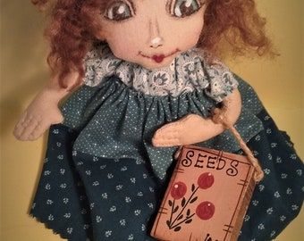 Sally and Her Seeds ~ One Of A Kind ~ Folk Art ~ Collectible ~ Cloth Doll