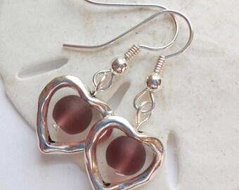 Purple Sea Glass Earrings, Sea Glass Jewelry, Beach Glass Earrings, Beach Glass Jewelry, Silver Heart earrings.  FREE SHIPPING in the U.S.