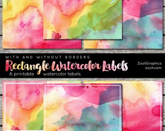 """Rectangle Watercolor Labels With And Without Borders, 2""""x3"""", Printable, 6 png Labels, 1 PDF, Commercial Use INSTANT DOWNLOAD"""