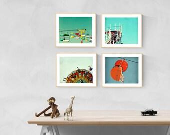wall art nursery // nursery decor // nursery prints // wall art for nursery // girls room boys room - Boardwalk Baby, set of four art prints