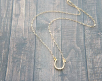 Reversible gold horseshoe necklace, lucky charm, 14K gold filled, gift, birthday, anniversary, layered necklace