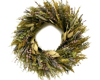 "18"" Fragrant Preserved Front Door Wreath-Spring Wreath-Rustic Wreath-Easter Wreath-Lavendar Wreath-"
