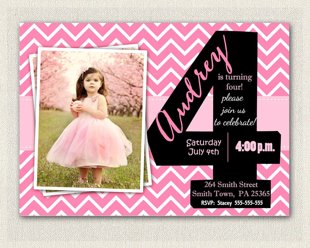 Girls 4th Birthday Invitations Printable Fourth Birthday