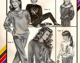 A Pullover, Long or Short Sleeve, Crew or Mock Turtleneck Holiday Top Pattern for Women and Children: Uncut -Multi-Sized • Stretch & Sew 389