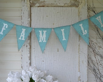 FAMILY hand painted Burlap Banner Pennant Bunting
