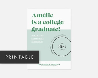 Printable Graduation Party Invitation / Printable Graduation Party Invites / Modern Graduation Invitation / Couples Baby Shower, Birthday
