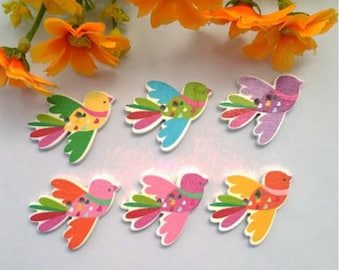Set of 10 colorful wooden bird buttons