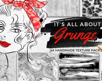 48 Grunge Texture Pack, It's all about GRUNGE texture pack, Vintage Background Paper, Hand Painted Background Paper, Digital Scrapbook Paper