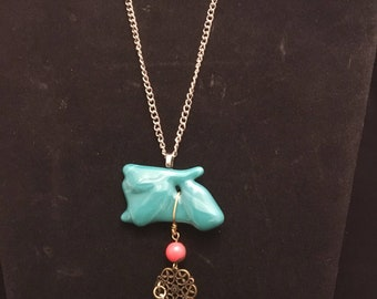 Teal Fused Glass Necklace with Tassle