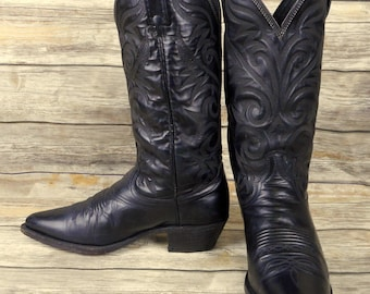 Dan Post Cowboy Boots Black Leather Mens Size 7.5 D Country Western Biker Shoes