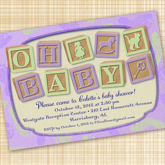 baby shower invitations, lavender baby shower invitations, baby girl shower invitations, purple baby shower invitations, diaper derby invite