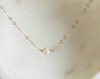 Dainty Herkimer Diamond Gemstone Necklace, Necklace, Layering Jewerly, Minimalist Jewerly, Bohemian Jewerly, Custom Gift
