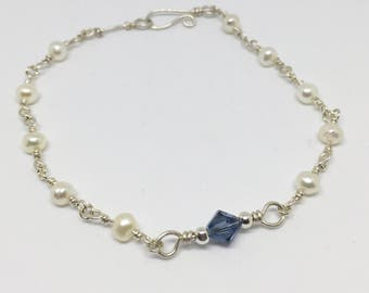 Genuine Freshwater Pearl and Blue Swarovski Silver Bracelet, Pearl Bracelet, Genuine Pearl Bracelet, Elegant bracelet, Wedding, Bridesmaids
