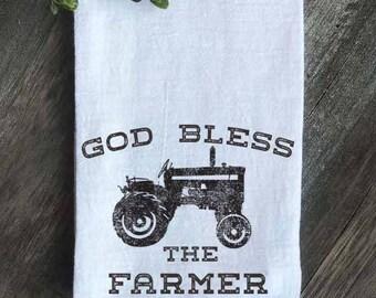 Farmhouse Flour Sack Tea Towel, God Bless the Farmer, Farmhouse Decor, Farmhouse Kitchen, Farmers Market, Tea Towel