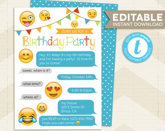 Emoji Party Invitation / Iphone Invitation / Emoji birthday Party / digital printable / Instant Download / for girl / editable / iphone