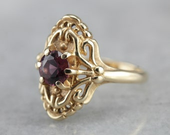 Vintage Filigree and Dusty Rose Tourmaline Ladies Ring in Fine Gold ALH6TJ-D