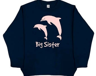 Big Sister Long Sleeved Shirt - Dolphin Big Sister Shirt - Kids Dolphin Cute Girls Big Sis Long Sleeved Navy Blue - Fleece - Gift Friendly