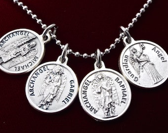 Archangel michael etsy archangel protection healing guidance peace necklace archangels michael raphael gabriel guardian angel necklace archangel prayer medals aloadofball Images