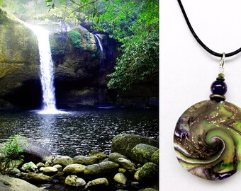 Karma Spiral Pendants - #289 Polymer Clay Pendant, Good Luck Charm, Good Karma, Handmade, One of kind, Unique Gift, Boho Jewelry