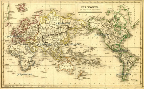 Antique world map 8 x 10 to 28 x 42 vintage 1840 map in antique world map 8 x 10 to 28 x 42 vintage 1840 map in ultra high resolution instant digital download gumiabroncs Choice Image