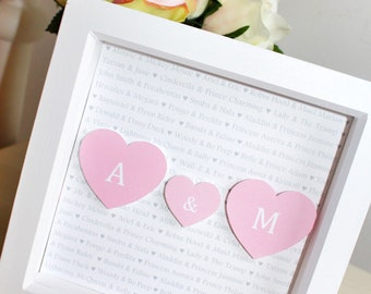 HAPPILY EVER AFTER - personalised 3D print in box frame - Monogram, Initials, Disney
