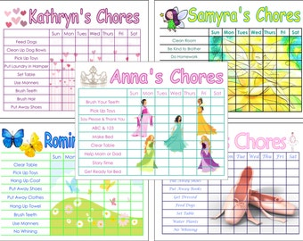 Childrens Chore Chart, You Choose the Chores, Girl Themes