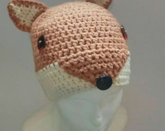 Crochet fox hat! cute and chunky! Made to order in required size, available in any size!