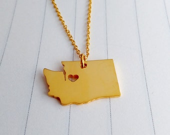 Washington State Charm Necklace,Gold Washington State Necklace,WA State Necklace,State Shaped Necklace  With A Heart
