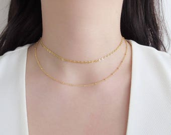 Layering necklace, gold layering necklace, double strand necklace, minimalist choker, gold dainty necklace, choker layering necklace