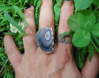 Large Agate Slice Ring