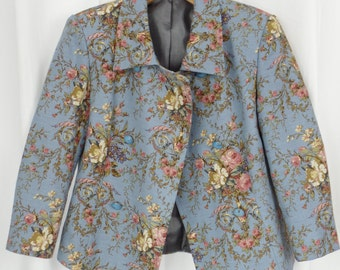 60s vintage FRENCH MADE powder blue flax linen cabbage rose floral double breasted cropped jacket/ 3/4 sleeves:fits US6- small 8