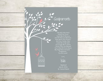 Godparents Print | Godparents Poem | Gift For Godmother And Godfather | Gift From Goddaughter  - 45877