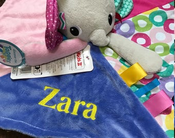 Personalised Taggies Bright Starts Cuddles N Tags Blankie Comforter Baby Taggy Baby Gifts, Baby Shower gifts, baby gift