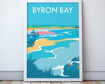 Byron Bay Vintage Style Travel Print
