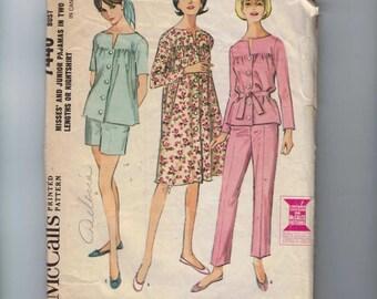 1960s Vintage Sewing Pattern McCalls 7440 Pajamas or Night Shirt Gathered Yoke Size 12 Bust 32 60s 1964
