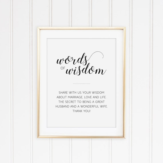 Words Of Wisdom Sign Printable Wedding Sign Marriage Advice