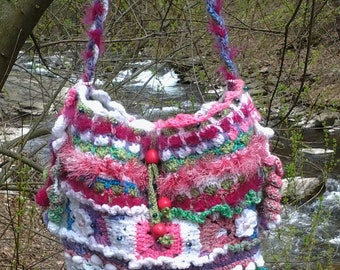 Boho Crochet  Bag..Colorful Beaded Shoulder Bag..Hippie..Large..Rainbow colors..Granny Squares..60's Vibe..Crochet Flowers.Pompoms