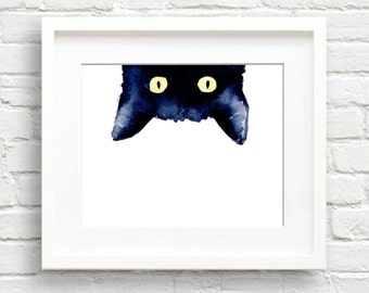 Black Cat Watercolor - Art Print - Sneaky Black Cat - Wall Decor - Painting