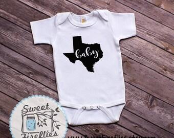 Texas Baby One-Piece Bodysuit, Custom Infant One-Piece Bodysuit,New Baby Gift, Infant bodysuit, Baby One-Piece, TX Baby Onesie, Texas Pride