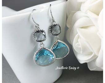 Aquamarine Earrings Blue and grey Earrings Bridesmaid Gift Maid of Honor Jewelry Mother of Groom Gift Mother of Bride Gift for Her