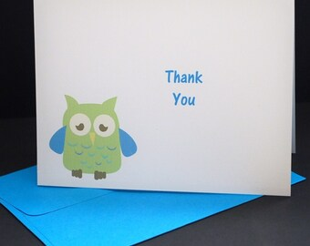 Owly Thank You greeting cards, set of 6