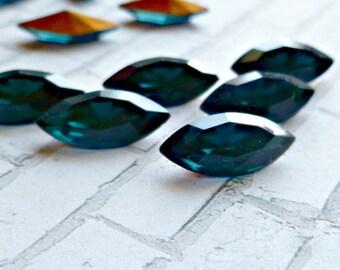 12 Montana Blue 15x7mm Vintage Glass Navettes (5-30-12)
