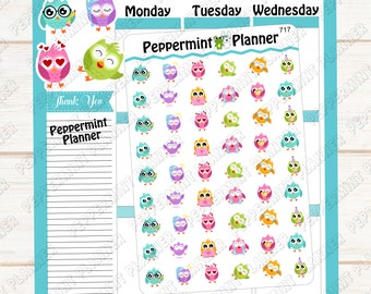 Sweet Colorful Owls --- Planner Stickers --- 717