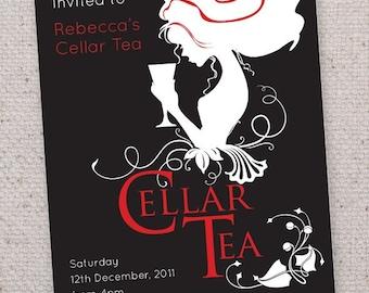 Vintage Cellar Tea invitations.