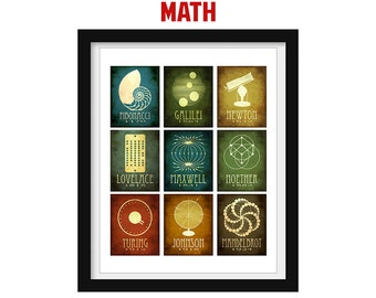 Math Gift Science Poster Math Teacher Gifts Mosaic Wall Art Science Art Educational Illustration Print Classroom Decor Steampunk Decor