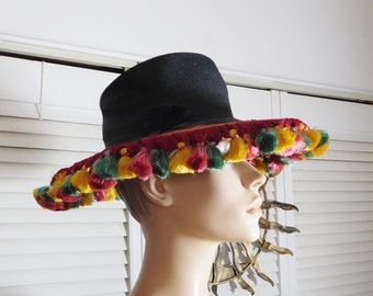 Black Straw Large Big Brim Floppy Vintage Hat with Multi Color Tassel Trim Pink Green and Yellow Size Medium Pleated Bow