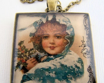 Resin Pendant, Girl in the Snow, Holidays, Christmas, Festive, Black, Red, Glitter, 35mm, Square, Necklace, For Her, Vintage Inspired