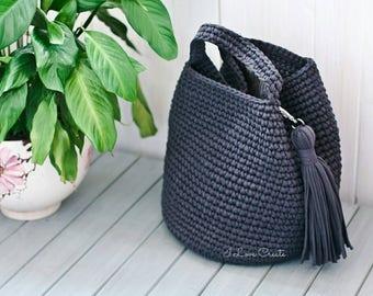 Shopper bag, extra large market bag, dark gray women's bag, everyday tote bag, gift for girlfriend, t-shirt yarn crochet bag