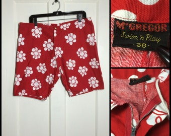 Vintage 1960's McGregor Swim n Play Drawstring Talon zipper fly Surfer Swimsuit Surf Shorts size 38 Red abstract white flower bold print