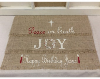 Burlap Placemats  - set of 6 or 12 with 3 different Christmas designs - Christmas placemats Holiday decor Christmas decor